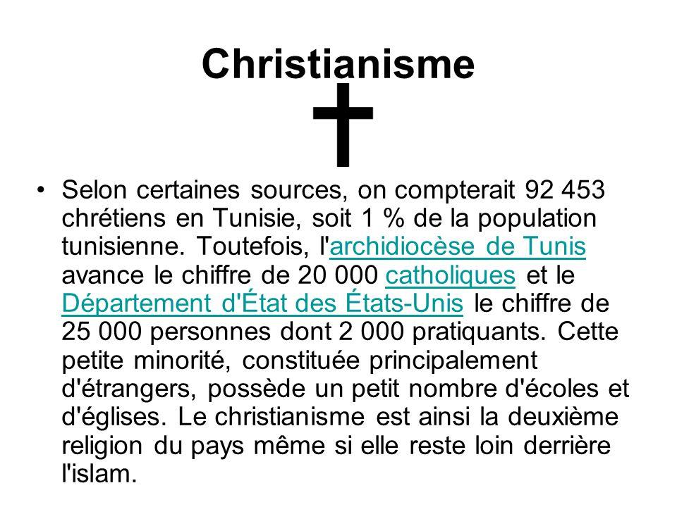 Christianisme Selon certaines sources, on compterait 92 453 chrétiens en Tunisie, soit 1 % de la population tunisienne. Toutefois, l'archidiocèse de T