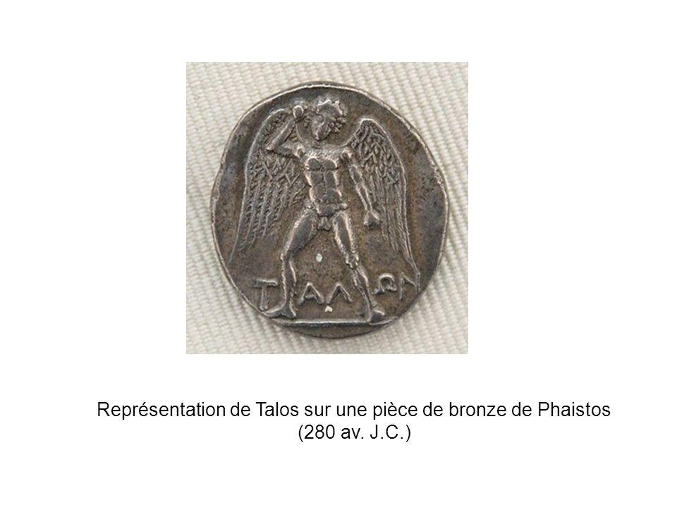 Représentation de Talos sur une pièce de bronze de Phaistos (280 av. J.C.)