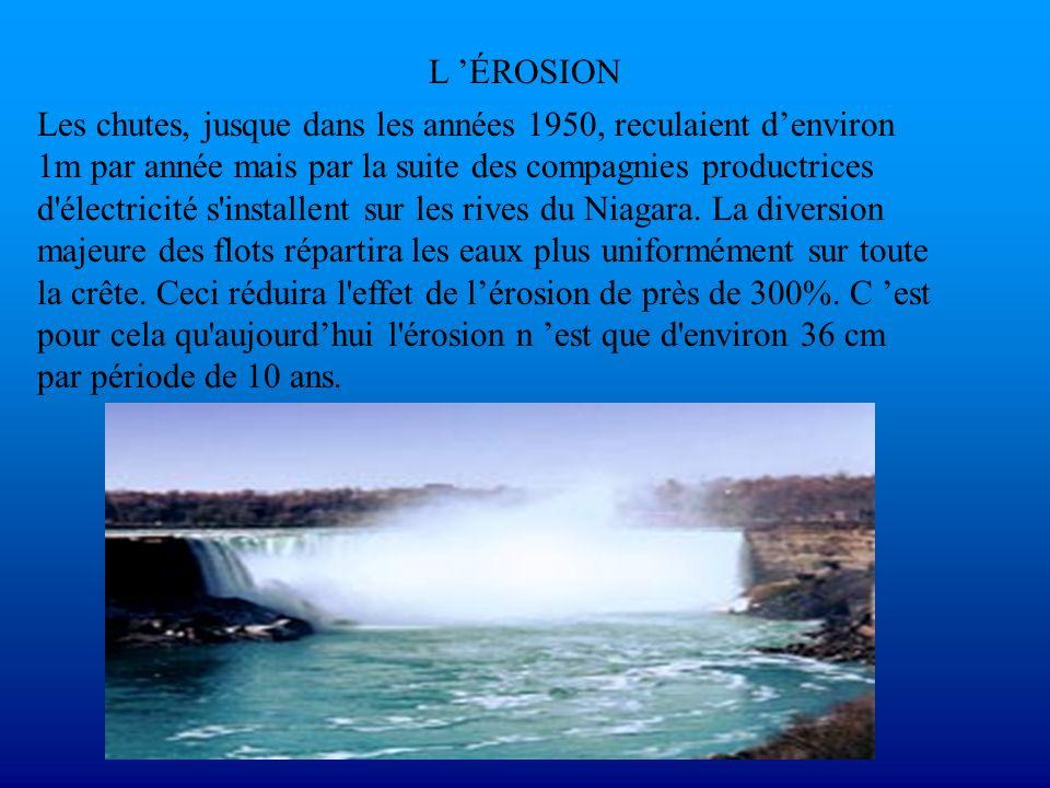 L ÉROSION Les chutes, jusque dans les années 1950, reculaient denviron 1m par année mais par la suite des compagnies productrices d'électricité s'inst