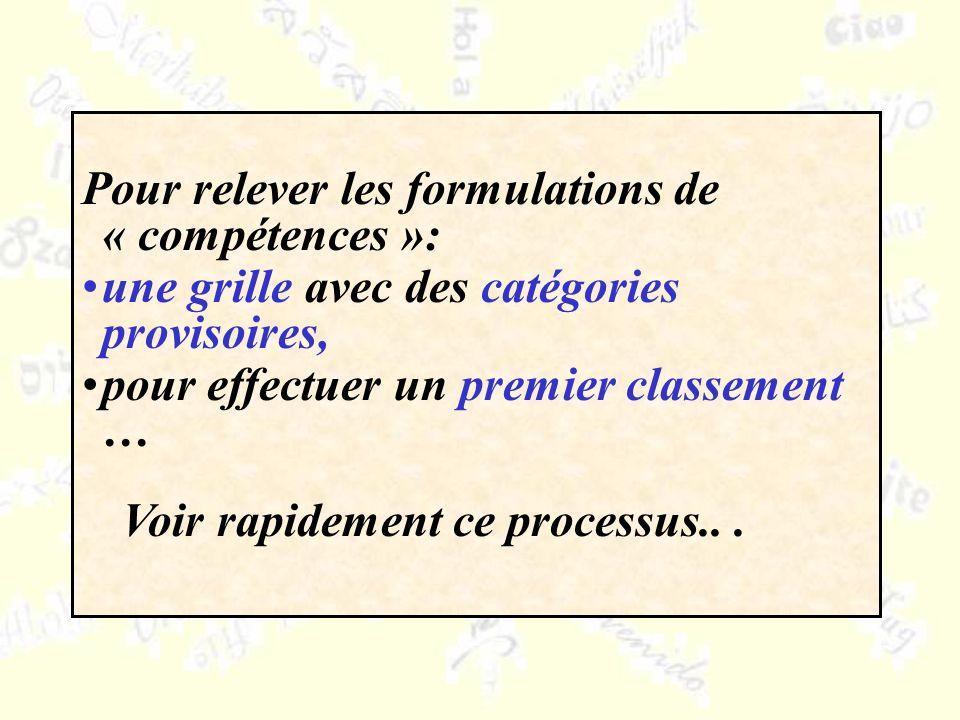 Pour relever les formulations de « compétences »: une grille avec des catégories provisoires, pour effectuer un premier classement … Voir rapidement ce processus...