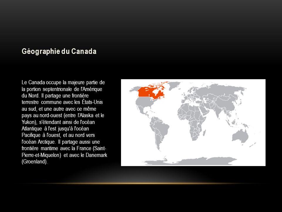 Géographie du Canada Le Canada occupe la majeure partie de la portion septentrionale de l'Amérique du Nord. Il partage une frontière terrestre commune