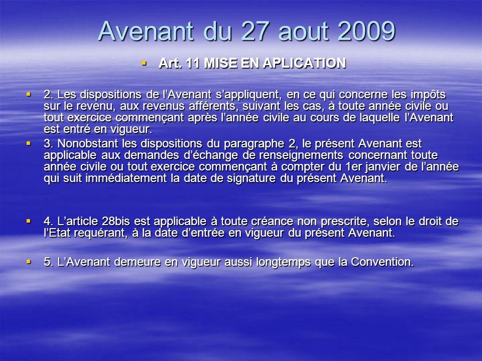 Avenant du 27 aout 2009 Art.7 Art.