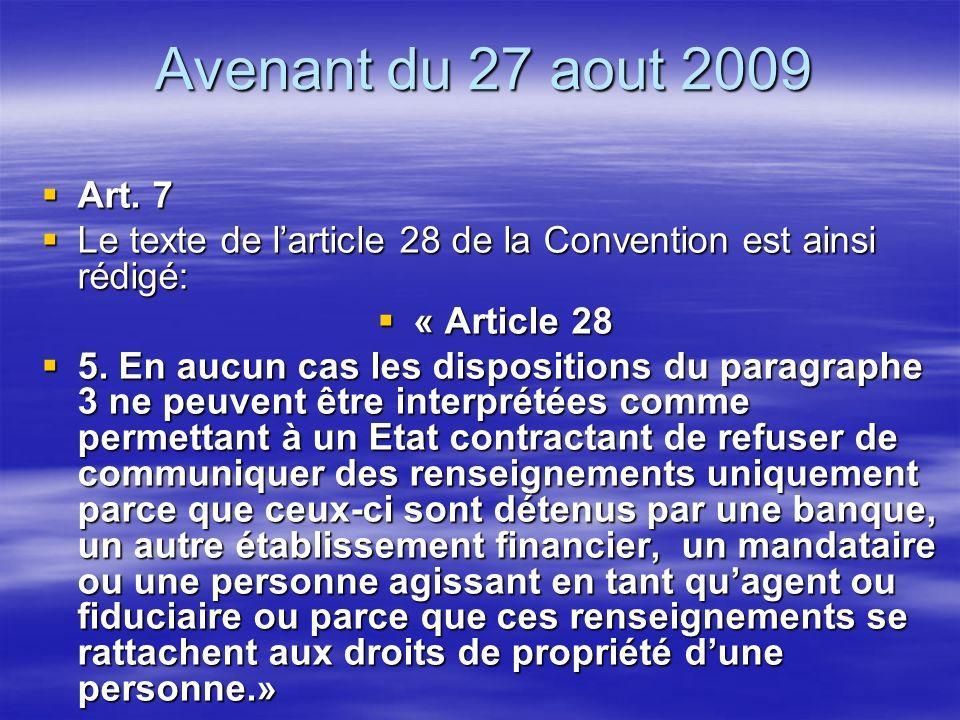 Avenant du 27 aout 2009 Art. 7 Art.