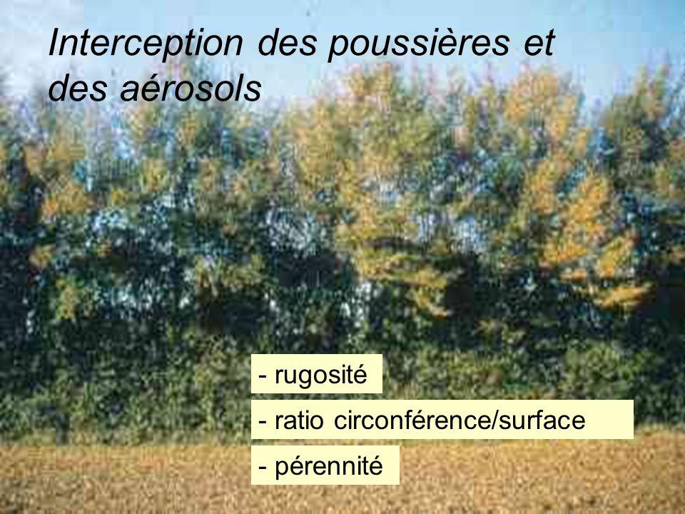 Une simulation, en soufflerie, dune bande boisée de trois rangées de large, montre des réductions de 35 à 56% de la masse des particules odorantes (po