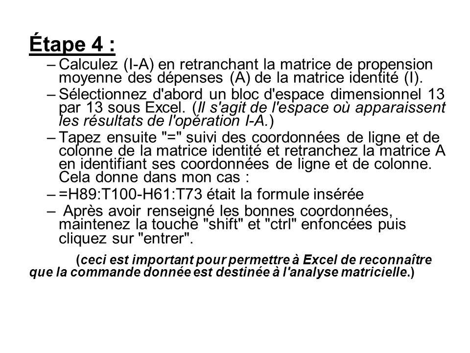 Étape 4 : –Calculez (I-A) en retranchant la matrice de propension moyenne des dépenses (A) de la matrice identité (I). –Sélectionnez d'abord un bloc d