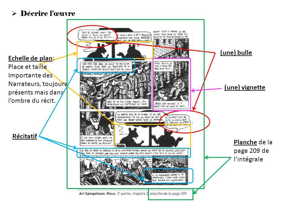 Décrire lœuvre (une) bulle Echelle de plan: Place et taille Importante des Narrateurs, toujours présents mais dans lombre du récit. Planche de la page