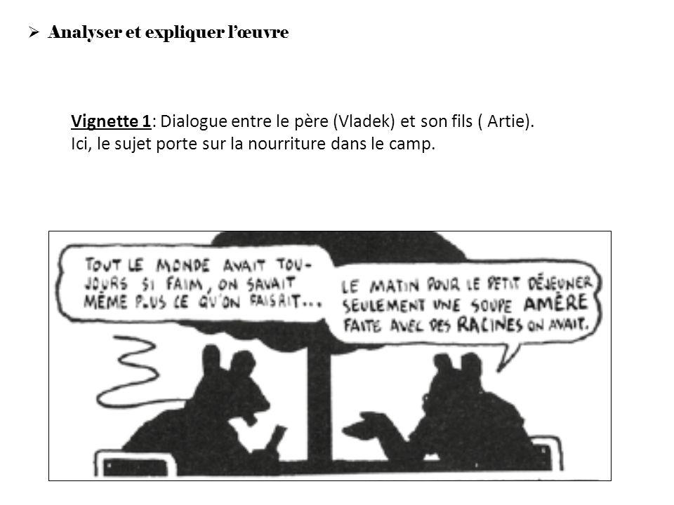 Analyser et expliquer lœuvre Vignette 1: Dialogue entre le père (Vladek) et son fils ( Artie). Ici, le sujet porte sur la nourriture dans le camp.