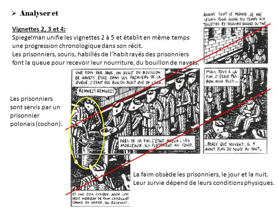 Analyser et expliquer lœuvre Vignettes 2, 3 et 4: Spiegelman unifie les vignettes 2 à 5 et établit en même temps une progression chronologique dans so