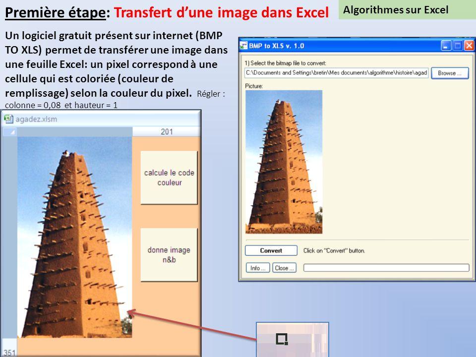 Algorithmes sur Excel Première étape: Transfert dune image dans Excel Un logiciel gratuit présent sur internet (BMP TO XLS) permet de transférer une i