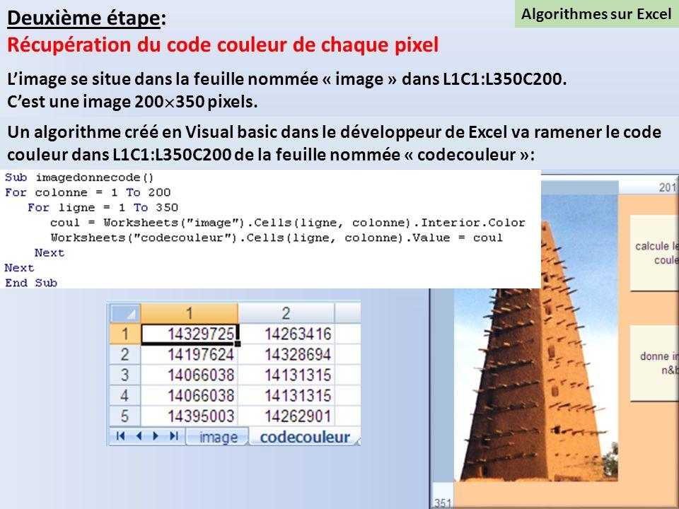 Algorithmes sur Excel Deuxième étape: Récupération du code couleur de chaque pixel Limage se situe dans la feuille nommée « image » dans L1C1:L350C200