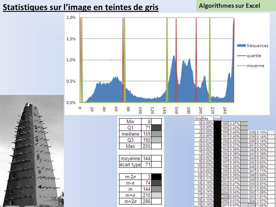 Algorithmes sur Excel Statistiques sur limage en teintes de gris