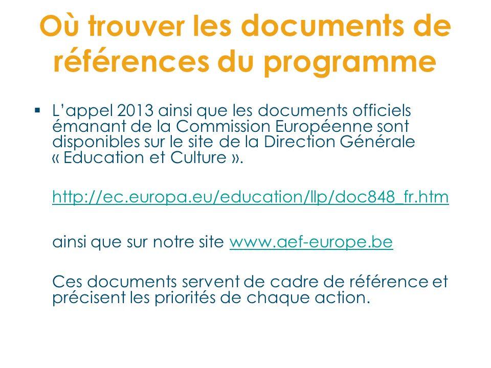 Où trouver l es documents de références du programme Lappel 2013 ainsi que les documents officiels émanant de la Commission Européenne sont disponible