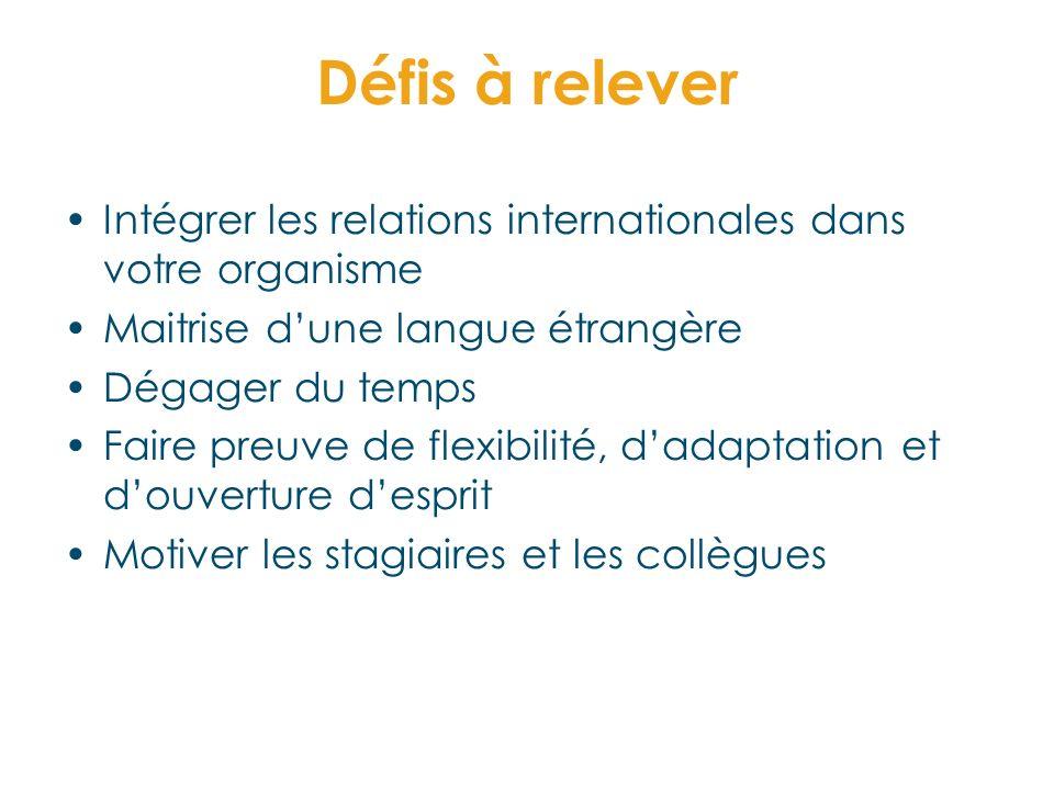 Défis à relever Intégrer les relations internationales dans votre organisme Maitrise dune langue étrangère Dégager du temps Faire preuve de flexibilit