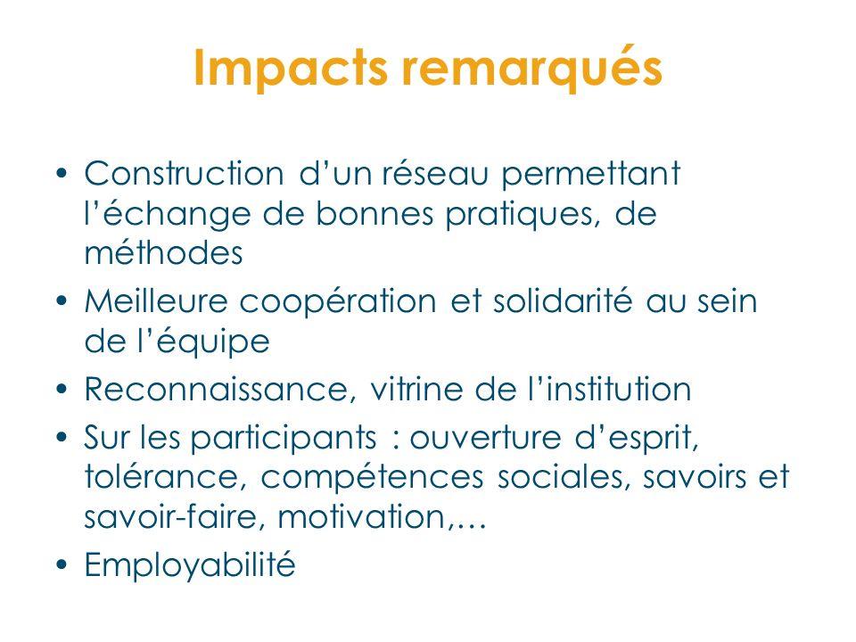 Impacts remarqués Construction dun réseau permettant léchange de bonnes pratiques, de méthodes Meilleure coopération et solidarité au sein de léquipe