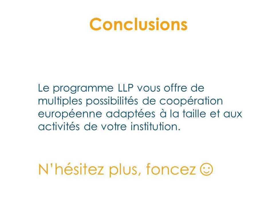 Conclusions Le programme LLP vous offre de multiples possibilités de coopération européenne adaptées à la taille et aux activités de votre institution