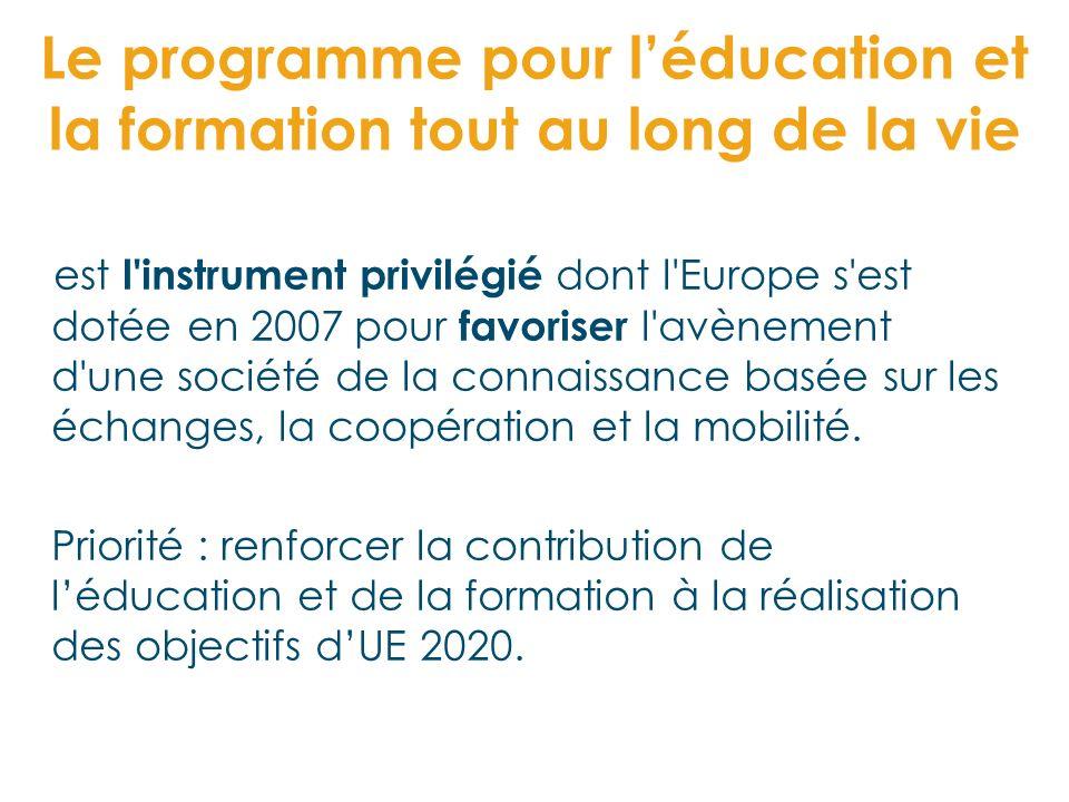 Le programme pour léducation et la formation tout au long de la vie est l'instrument privilégié dont l'Europe s'est dotée en 2007 pour favoriser l'avè