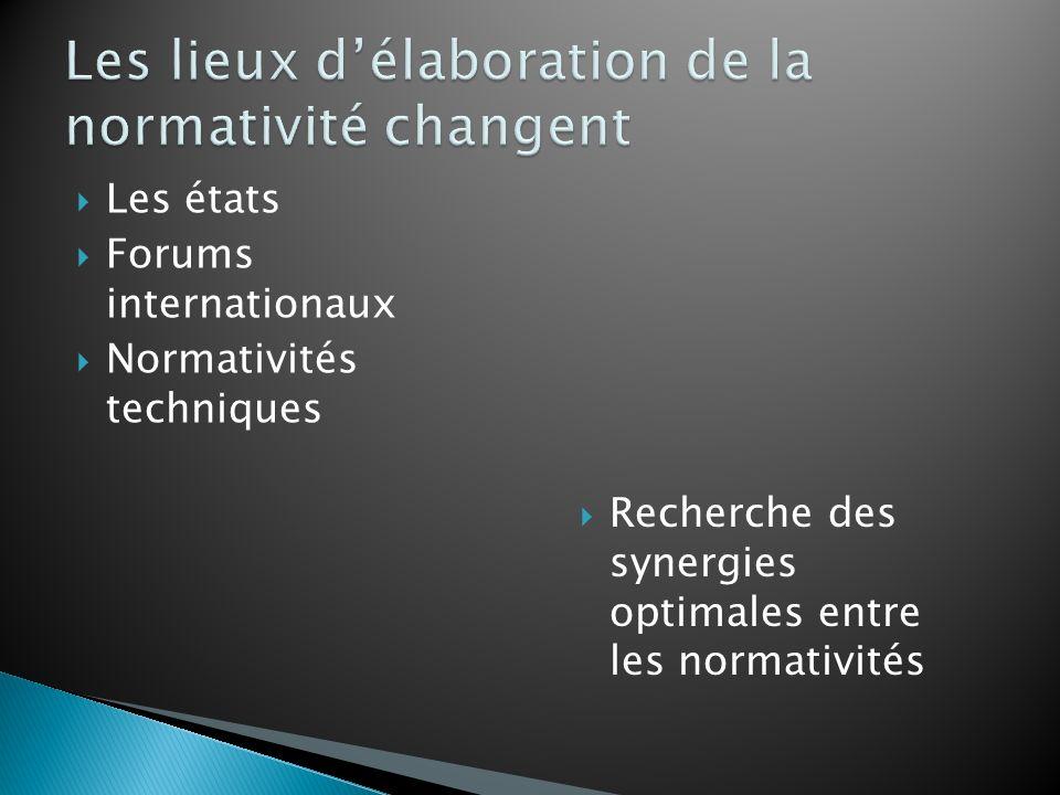 Les états Forums internationaux Normativités techniques Recherche des synergies optimales entre les normativités