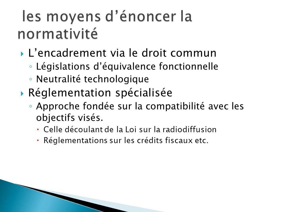 Lencadrement via le droit commun Législations déquivalence fonctionnelle Neutralité technologique Réglementation spécialisée Approche fondée sur la co