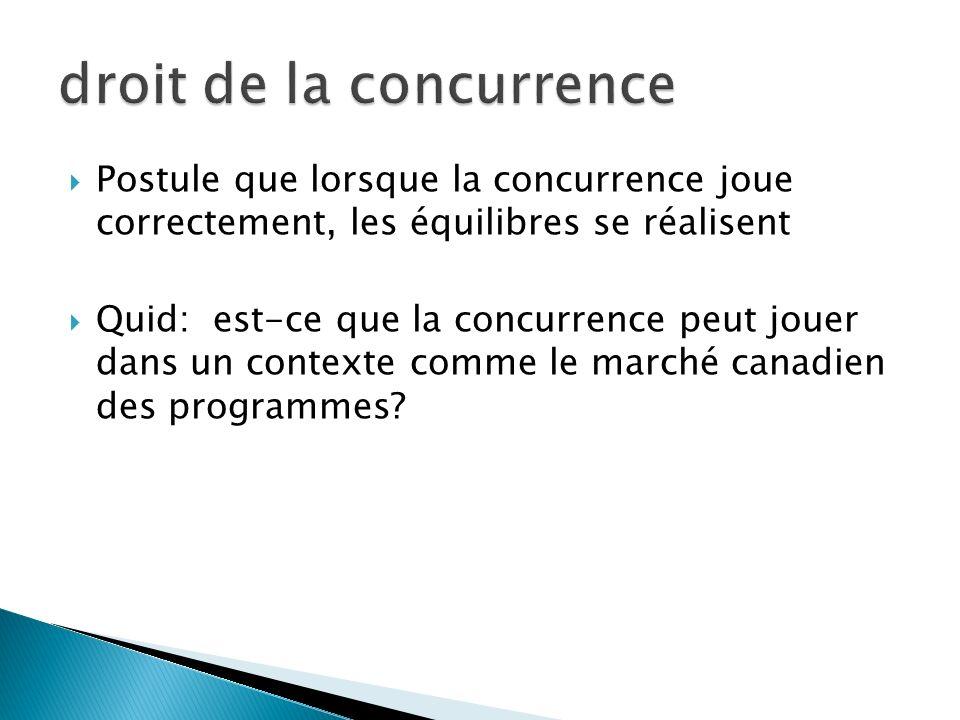 Postule que lorsque la concurrence joue correctement, les équilibres se réalisent Quid: est-ce que la concurrence peut jouer dans un contexte comme le marché canadien des programmes?