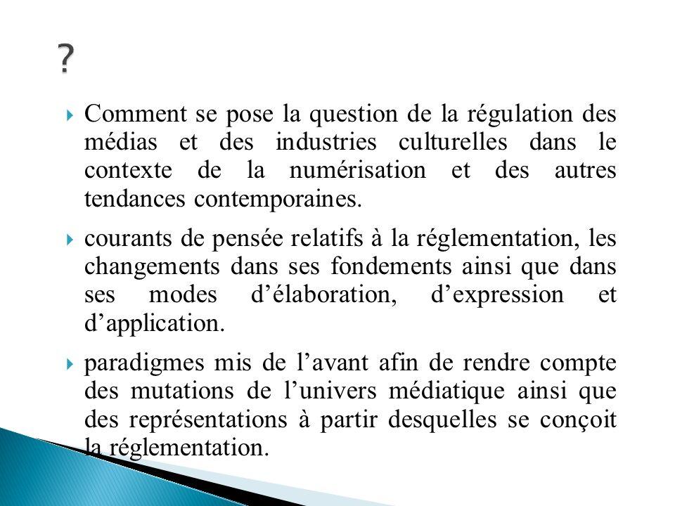 Comment se pose la question de la régulation des médias et des industries culturelles dans le contexte de la numérisation et des autres tendances contemporaines.
