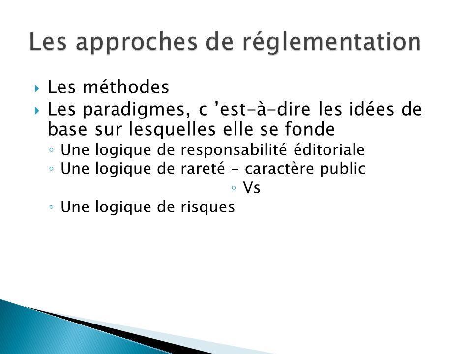 Les méthodes Les paradigmes, c est-à-dire les idées de base sur lesquelles elle se fonde Une logique de responsabilité éditoriale Une logique de rareté - caractère public Vs Une logique de risques