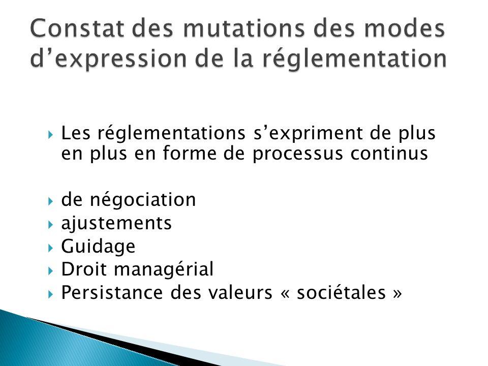 Les réglementations sexpriment de plus en plus en forme de processus continus de négociation ajustements Guidage Droit managérial Persistance des valeurs « sociétales »