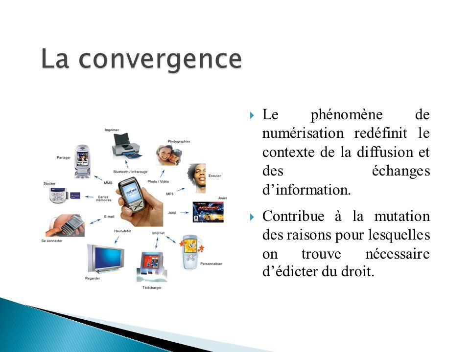 Le phénomène de numérisation redéfinit le contexte de la diffusion et des échanges dinformation.