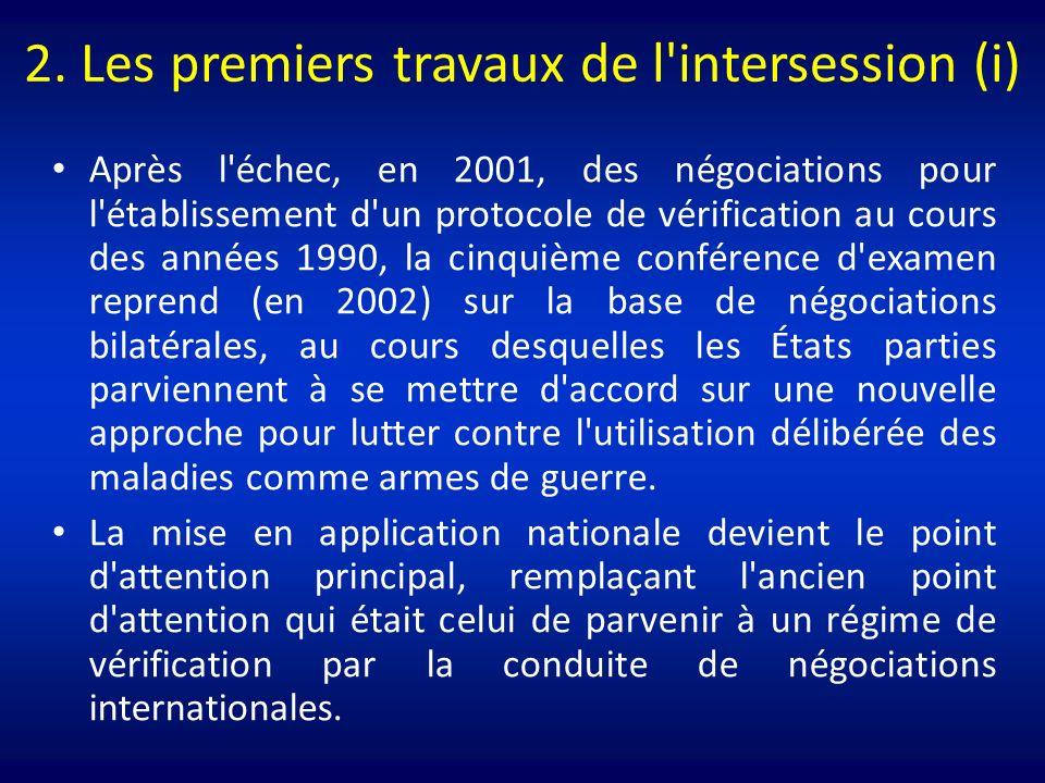 2. Les premiers travaux de l'intersession (i) Après l'échec, en 2001, des négociations pour l'établissement d'un protocole de vérification au cours de