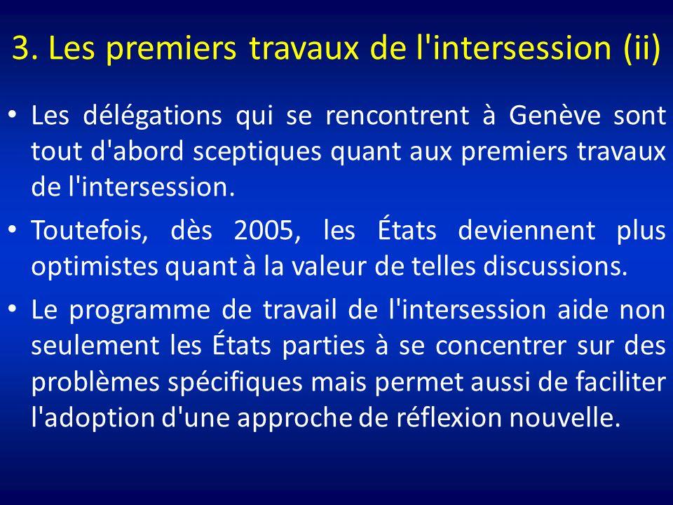 3. Les premiers travaux de l'intersession (ii) Les délégations qui se rencontrent à Genève sont tout d'abord sceptiques quant aux premiers travaux de