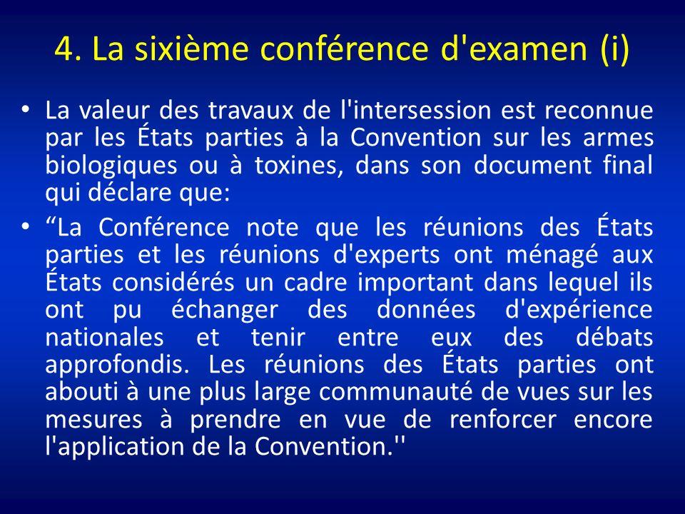4. La sixième conférence d'examen (i) La valeur des travaux de l'intersession est reconnue par les États parties à la Convention sur les armes biologi