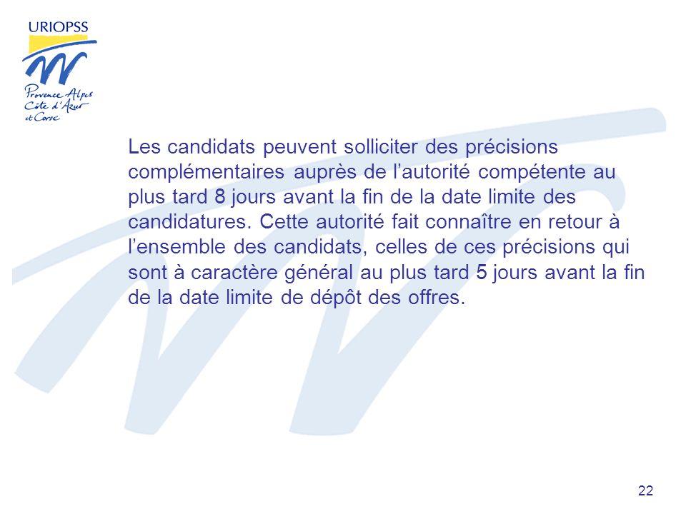 22 Les candidats peuvent solliciter des précisions complémentaires auprès de lautorité compétente au plus tard 8 jours avant la fin de la date limite des candidatures.