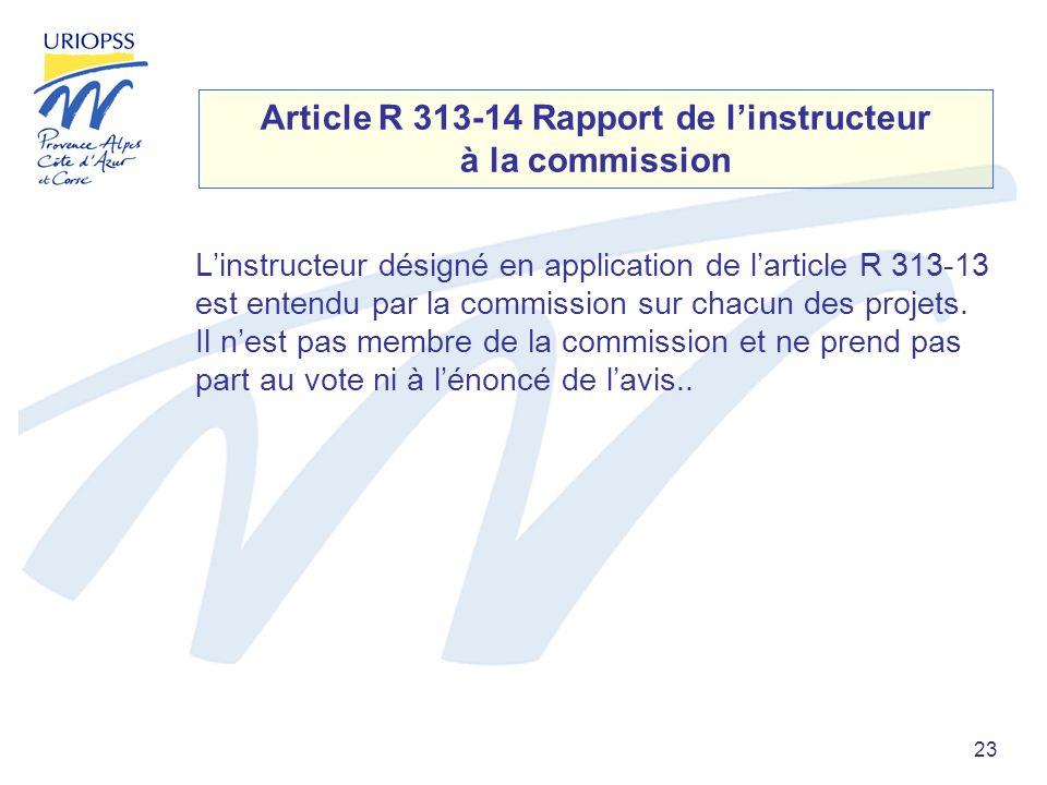 23 Article R 313-14 Rapport de linstructeur à la commission Linstructeur désigné en application de larticle R 313-13 est entendu par la commission sur chacun des projets.
