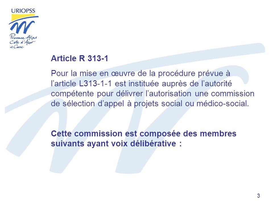 3 Article R 313-1 Pour la mise en œuvre de la procédure prévue à larticle L313-1-1 est instituée auprès de lautorité compétente pour délivrer lautorisation une commission de sélection dappel à projets social ou médico-social.