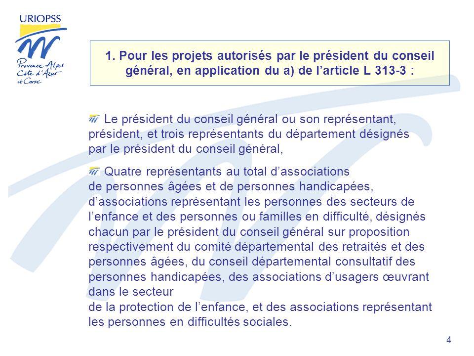 4 1. Pour les projets autorisés par le président du conseil général, en application du a) de larticle L 313-3 : Le président du conseil général ou son