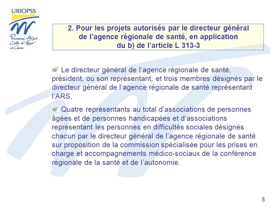 5 2. Pour les projets autorisés par le directeur général de lagence régionale de santé, en application du b) de larticle L 313-3 Le directeur général