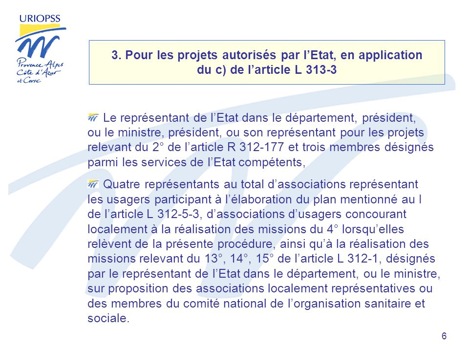 6 3. Pour les projets autorisés par lEtat, en application du c) de larticle L 313-3 Le représentant de lEtat dans le département, président, ou le min