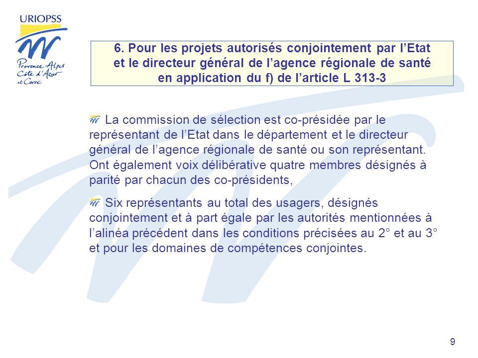 9 6. Pour les projets autorisés conjointement par lEtat et le directeur général de lagence régionale de santé en application du f) de larticle L 313-3