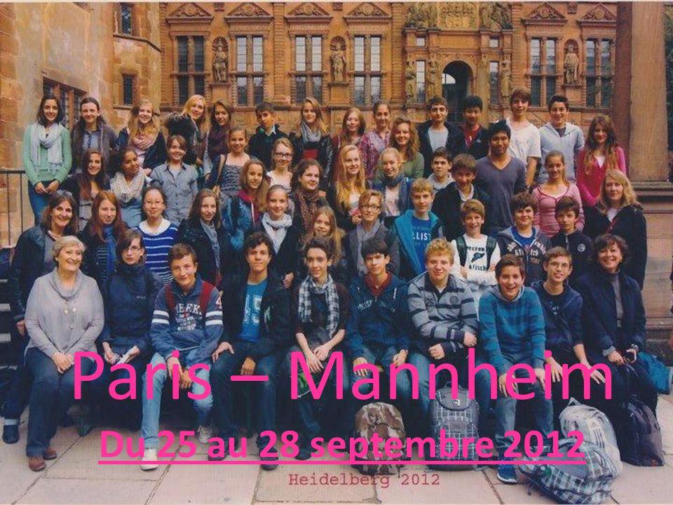 Mardi Nous sommes partis de la gare de l Est à Paris à 9H10 et sommes arrivés à Mannheim vers 12H15.