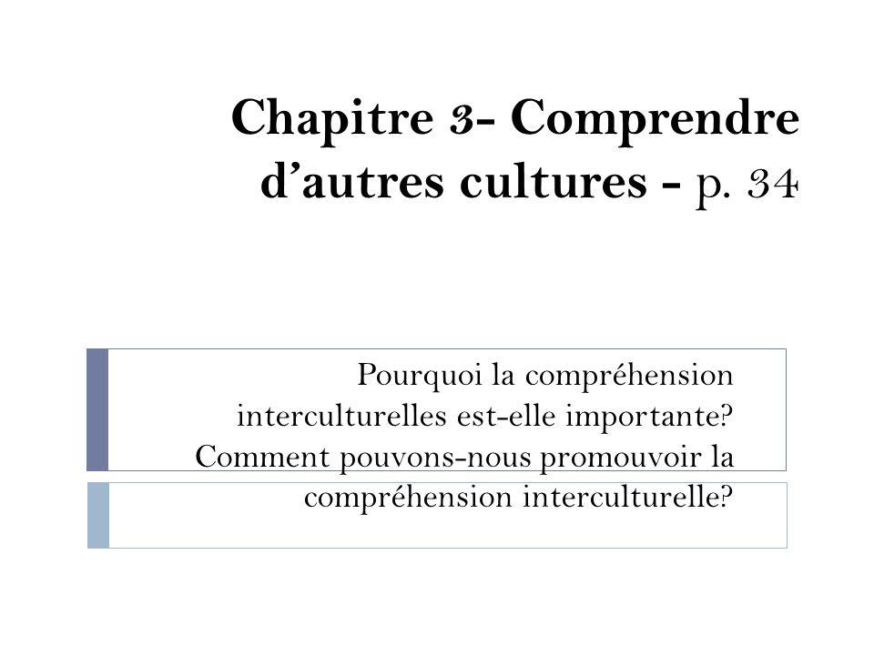 Chapitre 3- Comprendre dautres cultures - p. 34 Pourquoi la compréhension interculturelles est-elle importante? Comment pouvons-nous promouvoir la com