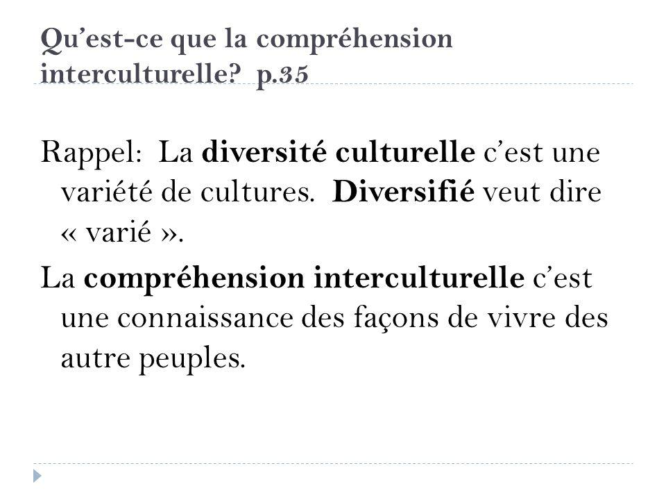 Quest-ce que la compréhension interculturelle? p.35 Rappel: La diversité culturelle cest une variété de cultures. Diversifié veut dire « varié ». La c