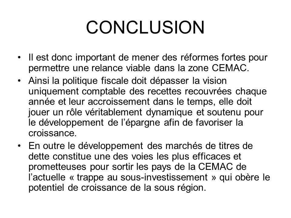 CONCLUSION Il est donc important de mener des réformes fortes pour permettre une relance viable dans la zone CEMAC. Ainsi la politique fiscale doit dé