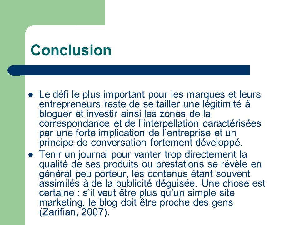 Conclusion Le défi le plus important pour les marques et leurs entrepreneurs reste de se tailler une légitimité à bloguer et investir ainsi les zones