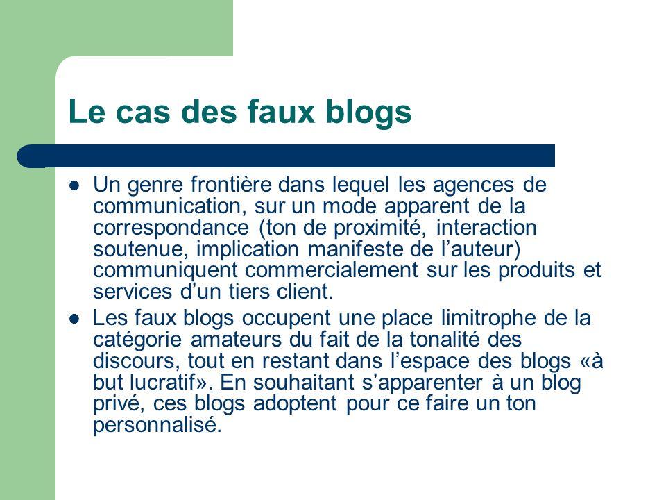 Le cas des faux blogs Un genre frontière dans lequel les agences de communication, sur un mode apparent de la correspondance (ton de proximité, intera