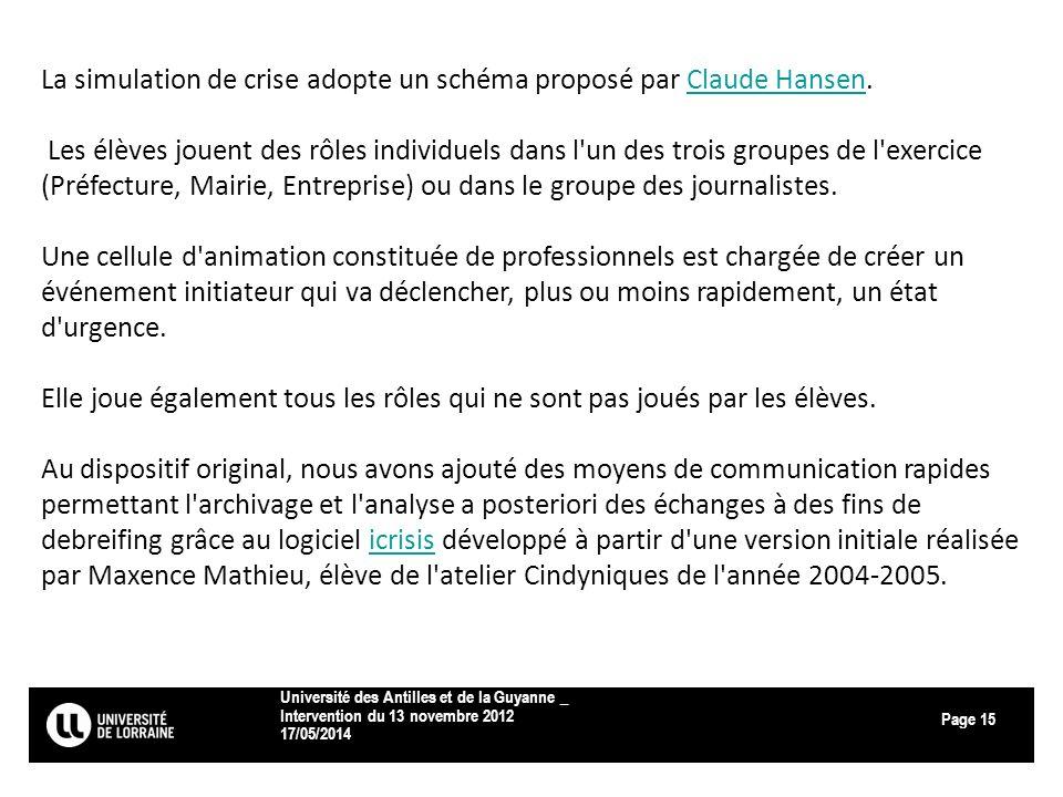 Page 17/05/2014 Université des Antilles et de la Guyanne _ Intervention du 13 novembre 2012 15 La simulation de crise adopte un schéma proposé par Cla