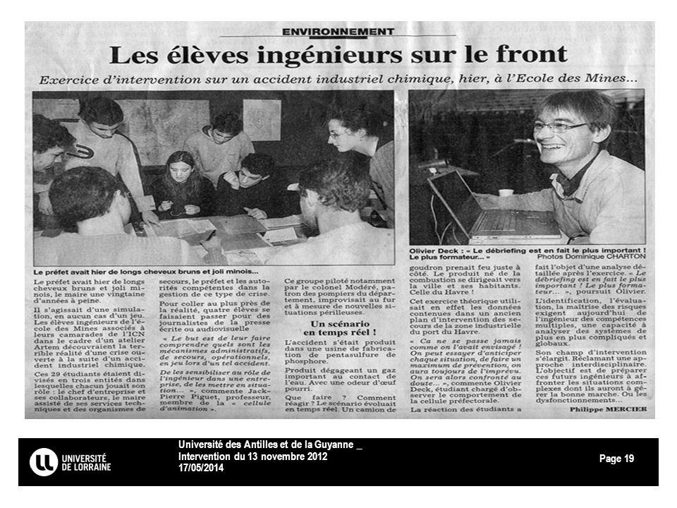 Page 17/05/2014 Université des Antilles et de la Guyanne _ Intervention du 13 novembre 2012 19