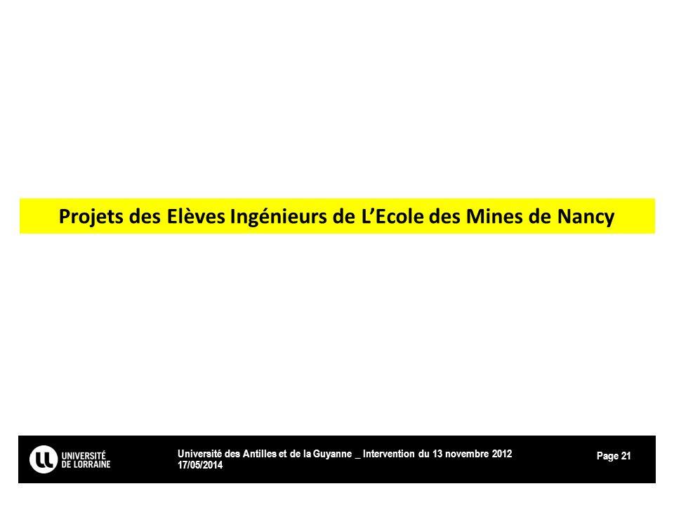 Page 17/05/2014 Université des Antilles et de la Guyanne _ Intervention du 13 novembre 2012 21 Projets des Elèves Ingénieurs de LEcole des Mines de Na