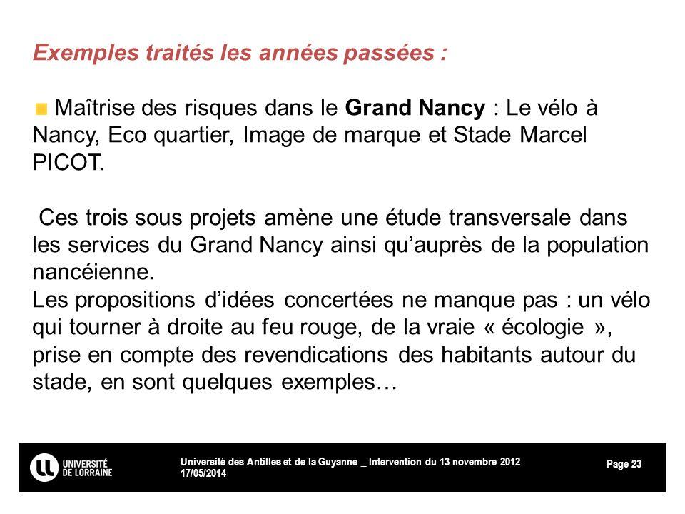 Page 17/05/2014 Université des Antilles et de la Guyanne _ Intervention du 13 novembre 2012 23 Exemples traités les années passées : Maîtrise des risq