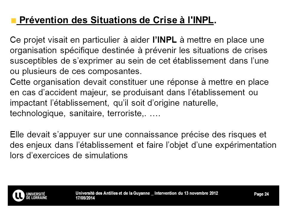 Page 17/05/2014 Université des Antilles et de la Guyanne _ Intervention du 13 novembre 2012 24 Prévention des Situations de Crise à l'INPL. Ce projet