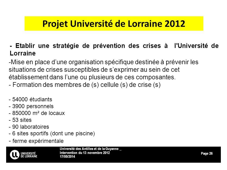 Page 17/05/2014 Université des Antilles et de la Guyanne _ Intervention du 13 novembre 2012 26 Projet Université de Lorraine 2012 -Mise en place dune