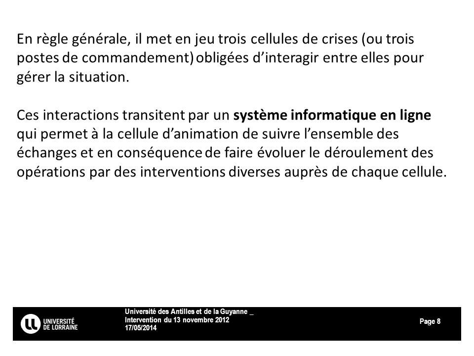 Page 17/05/2014 Université des Antilles et de la Guyanne _ Intervention du 13 novembre 2012 8 En règle générale, il met en jeu trois cellules de crise